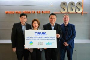 The TPARK Bangplee 4 warehouse by TICON, located in Bangkok, Thailand has achieved a preliminary EDGE certificate.